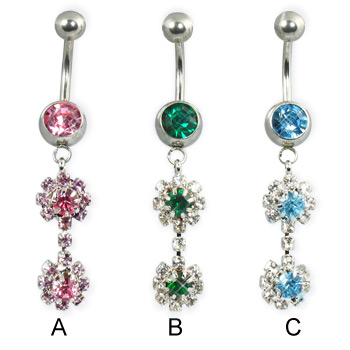 Two dangling flowers belly button ring