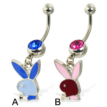Pink playboy bunny belly button ring