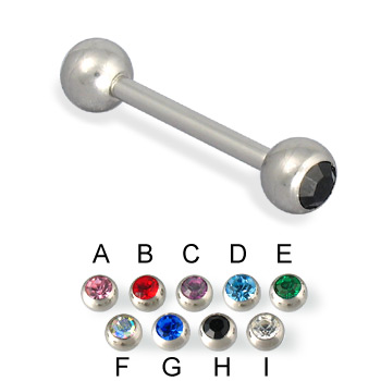 Double jeweled straight barbell, 14 ga