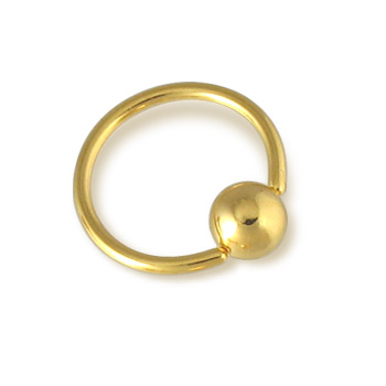 Gold Tone CBR / clit ring, 16 ga
