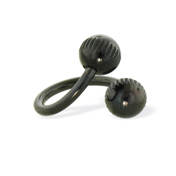 Black notched ball spiral barbell, 14 ga