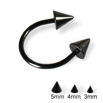Black horseshoe barbell with cones, 16 ga