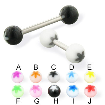 Flower ball straight barbell, 14 ga
