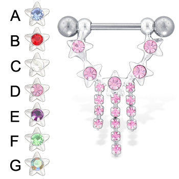 Stars and dangles jeweled nipple ring
