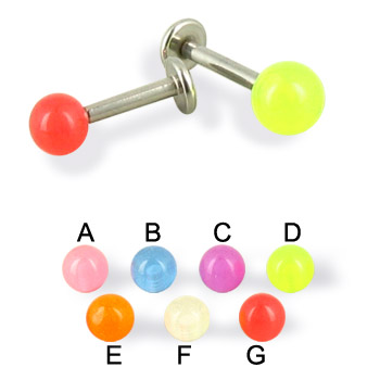 Glow-in-the-dark ball labret, 14 ga