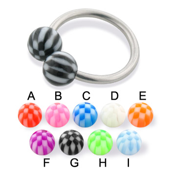 Checkered ball circular barbell, 14 ga