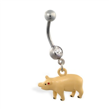 Jeweled belly ring with dangling pig