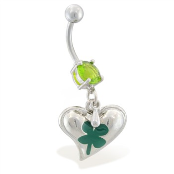 Belly ring with dangling heart with clover