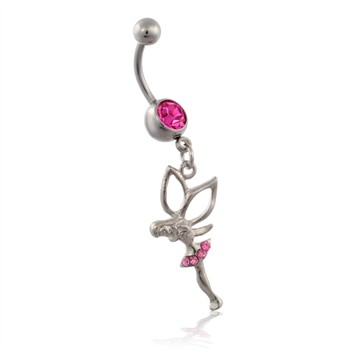 Jeweled Belly Ring with Dangling Pink Jeweled Fairy