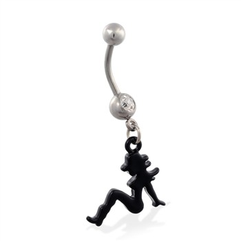 Jeweled belly ring with dangling black coated cowgirl