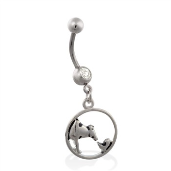 Jeweled belly ring with dangling cow and chicken circle