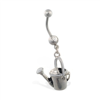 Jeweled belly ring with dangling water pail
