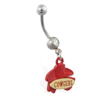 "Jeweled belly ring with dangling ""COWGIRL"" and hat"