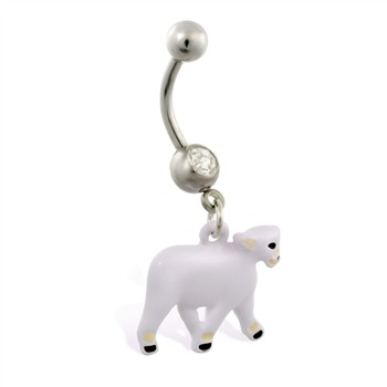 Jeweled belly ring with dangling sheep