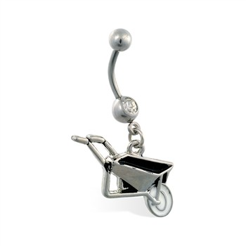 Jeweled belly ring with Dangling Wheel Barrow