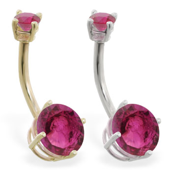 14K Gold double jeweled Ruby belly ring