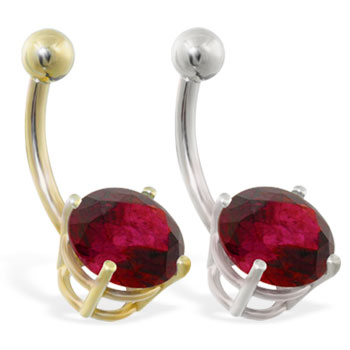 14K Gold belly ring with large 8mm Garnet