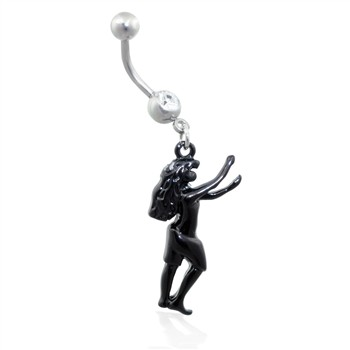 Navel Ring with Dangling Dancing Woman