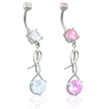 Navel ring with CZ gem in twister dangle
