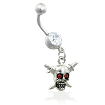 Belly Ring with Dangling Skull And Swords