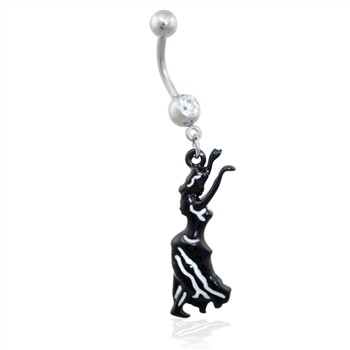 Navel ring with dangling hula girl