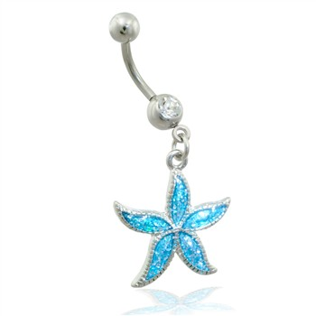 Belly ring with dangling aqua glitter starfish