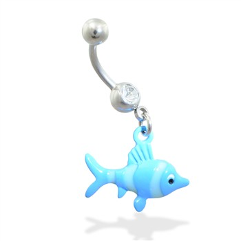 Belly ring with dangling blue fish