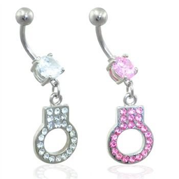 Belly ring with dangling handcuff