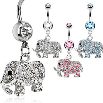 Navel ring with dangling jeweled elephant