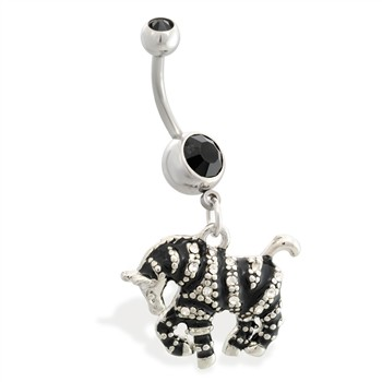 Navel ring with dangling jeweled zebra