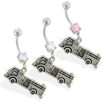 Navel ring with dangling fire truck