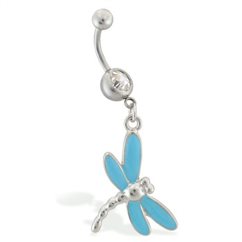 Belly ring with dangling lt blue dragonfly