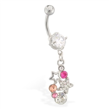 Belly ring with star and gem dangle