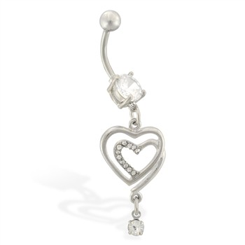 Belly ring with dangling jeweled double hearts with tiny CZ