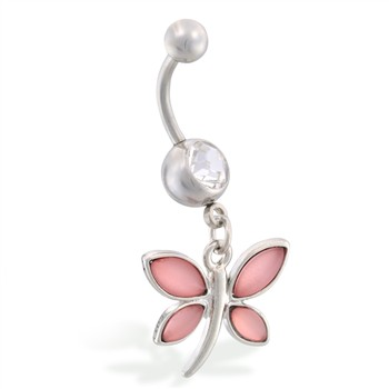 Navel ring with dangling glossy pink butterfly