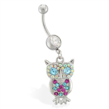 Navel ring with dangling multi-colored jeweled owl