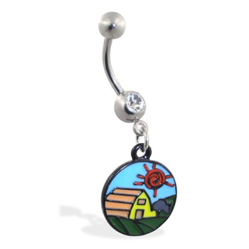Jeweled belly ring with Dangling Barn-Scape Circle