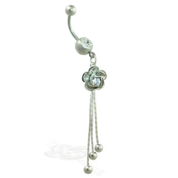 Belly ring with dangling rose and chains