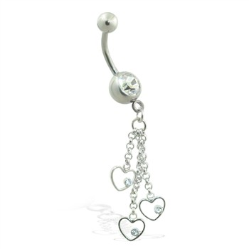Belly ring with dangling hearts on chains