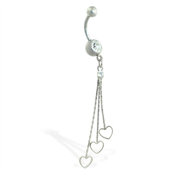 Navel ring with dangling hearts on chains