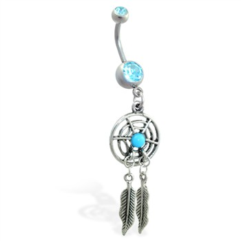 Double jeweled aqua belly ring with dangling dream catcher and feathers