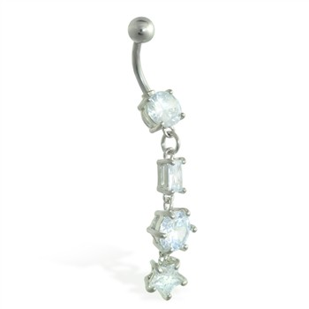 Jeweled navel ring with dangling jeweled shapes