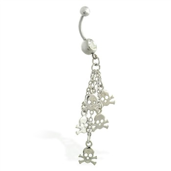 Belly ring with dangling skulls on chains