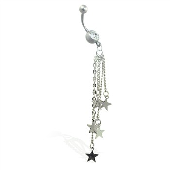 Navel ring with dangling chains and stars