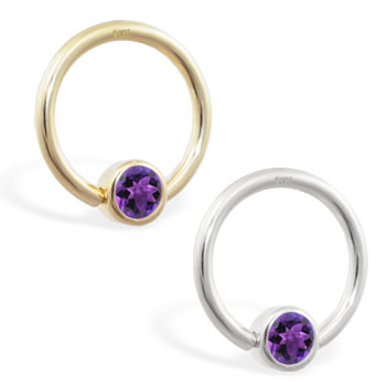 14K Gold captive bead ring with Amethyst