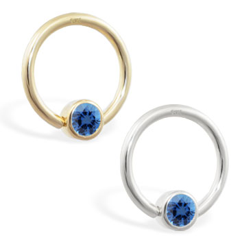 14K Gold captive bead ring with Blue Zirconia