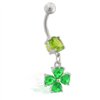 Belly ring with small dangling jeweled four leaf clover