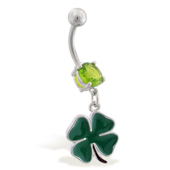 Belly ring with small dangling four leaf clover