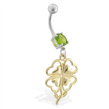 Belly ring with dangling gold colored four leaf heart clover flower