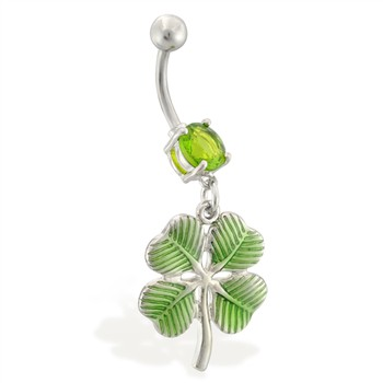 Jeweled belly ring with dangling green four leaf clover
